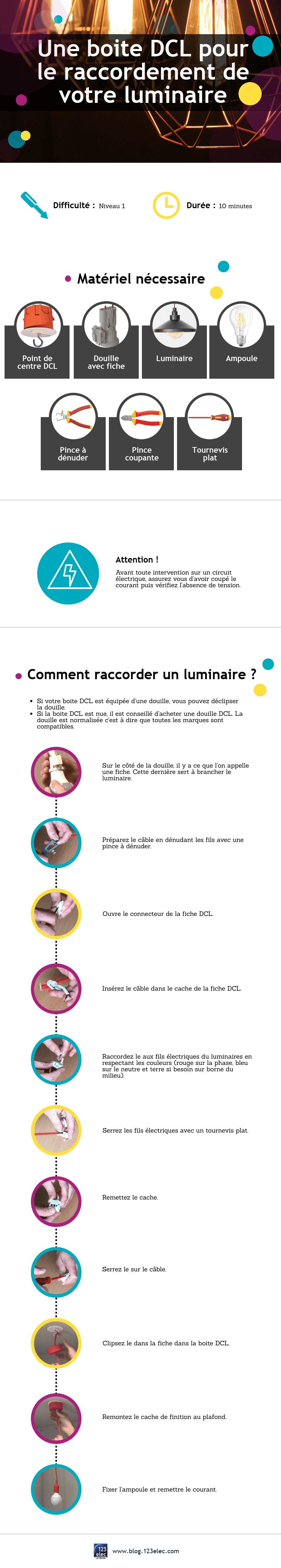 Infographie : raccorder un luminaire avec une boite DCL