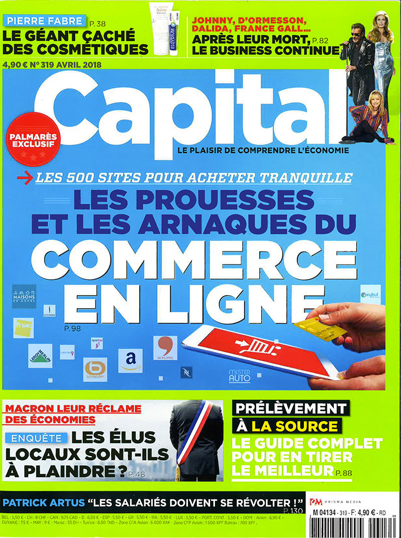 Couverture magazine Capital avril 2018