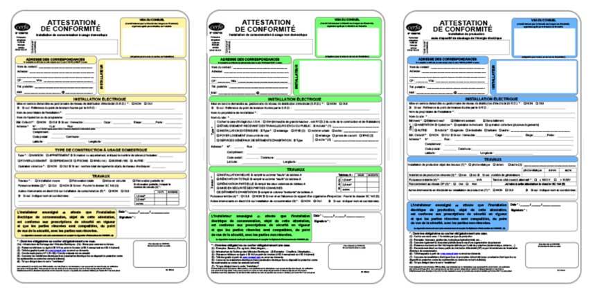 Les différents formulaires du consuel