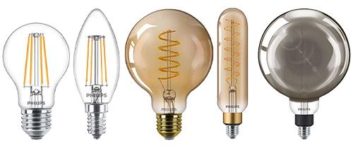 différents types d'ampoules LED Philips